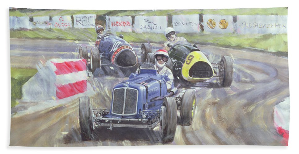 Classic Cars Beach Towel featuring the painting The First Race At The Goodwood Revival by Clive Metcalfe