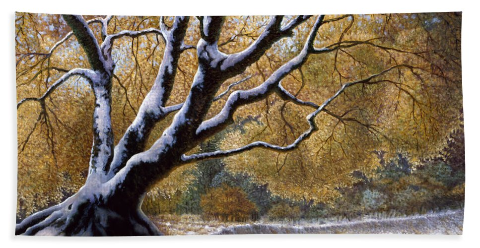 Snow Beach Towel featuring the painting The First Snow Idaho by Gregory Perillo