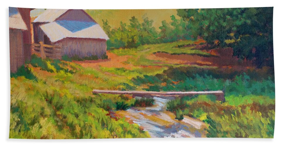 Impressionism Beach Towel featuring the painting The Foot Bridge by Keith Burgess
