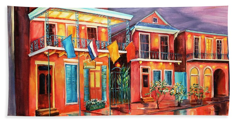 New Orleans Beach Towel featuring the painting The Frenchmen Hotel New Orleans by Diane Millsap