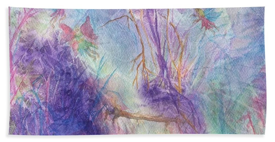 Fairy Beach Towel featuring the painting The Gathering by Ellen Levinson