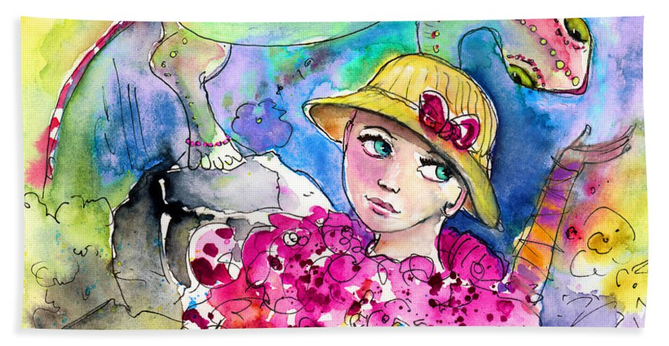 Travel Beach Towel featuring the painting The Girl And The Lizard by Miki De Goodaboom