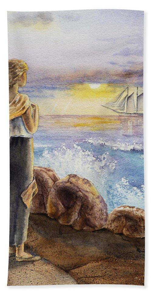 Girl Beach Towel featuring the painting The Girl And The Ocean by Irina Sztukowski