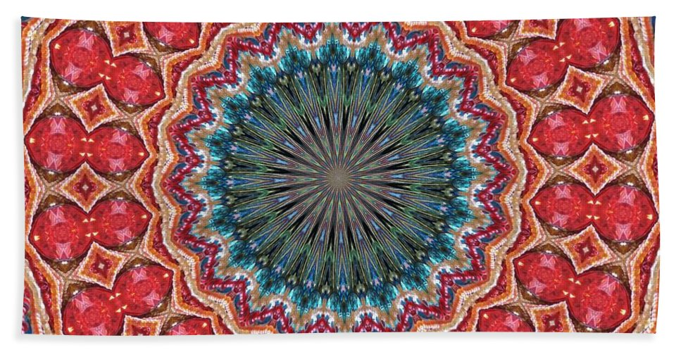 Kaleidoscopes Beach Towel featuring the digital art The Girl With Kaliedoscope Eyes by Alec Drake
