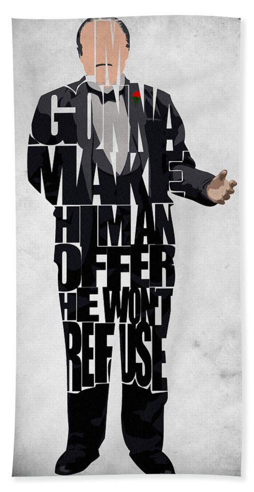 The Godfather Marlon Brando Beach Towel featuring the painting The Godfather Inspired Don Vito Corleone Typography Artwork by Inspirowl Design