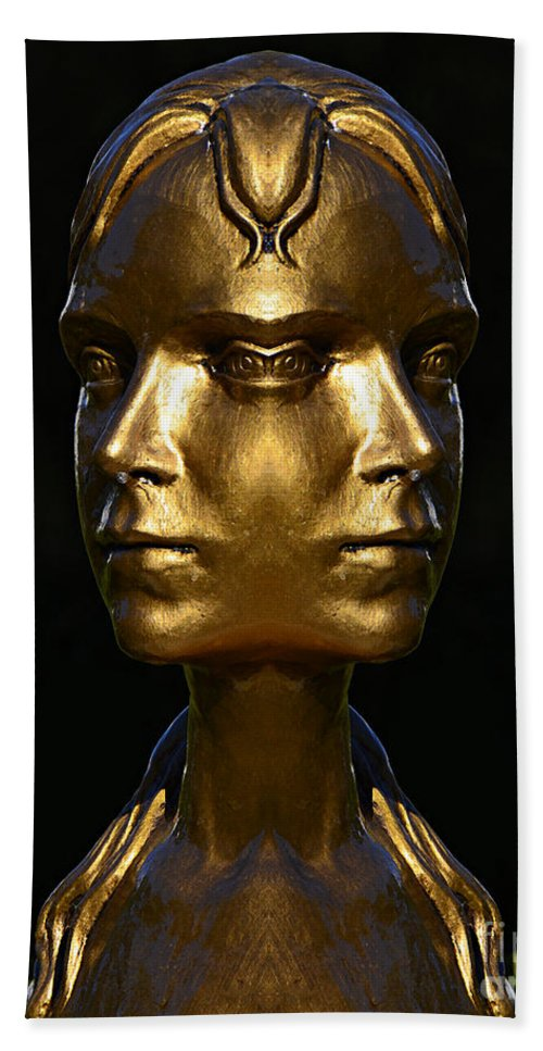 Gold Beach Towel featuring the photograph The Golden Girl At Caesar's Palace by Mike Nellums
