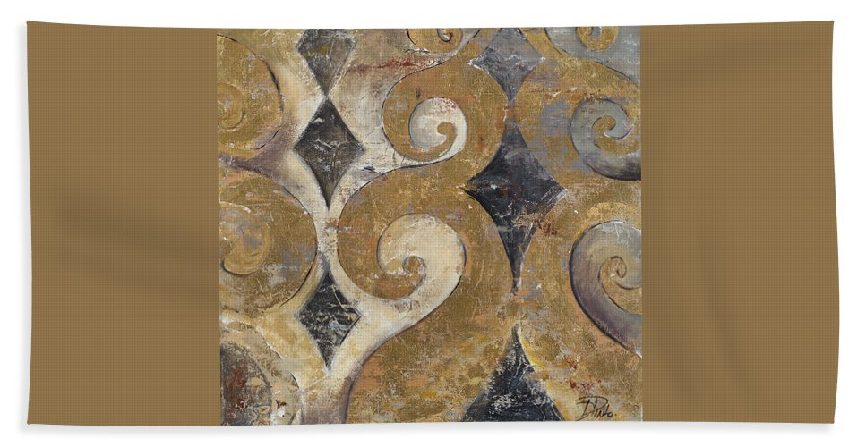 The Beach Towel featuring the painting The Golden Ornaments by Patricia Pinto