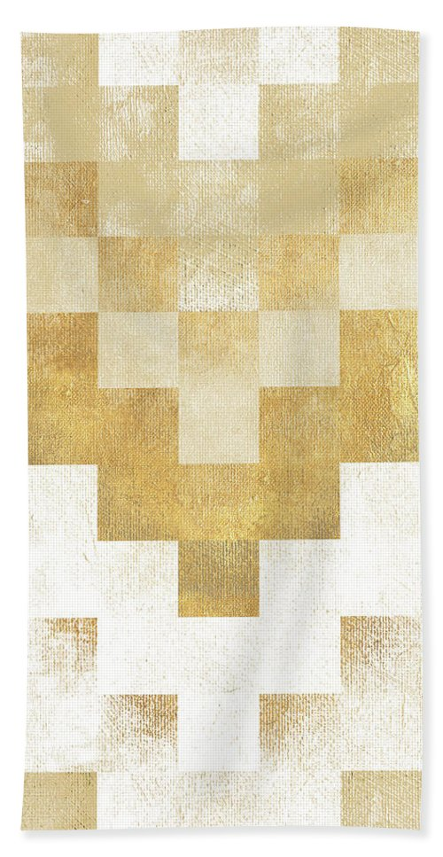 The Beach Towel featuring the mixed media The Golden Path by Hugo Edwins