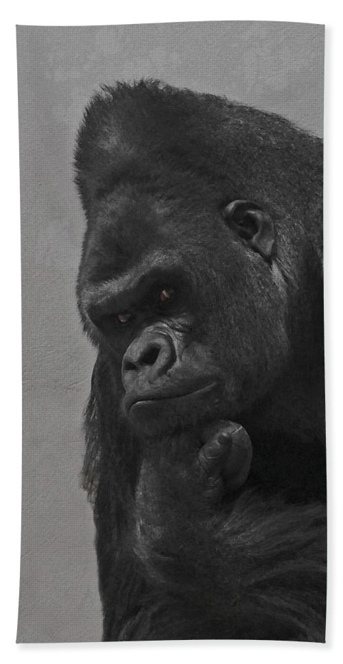Gorilla Beach Towel featuring the digital art The Gorilla by Ernie Echols