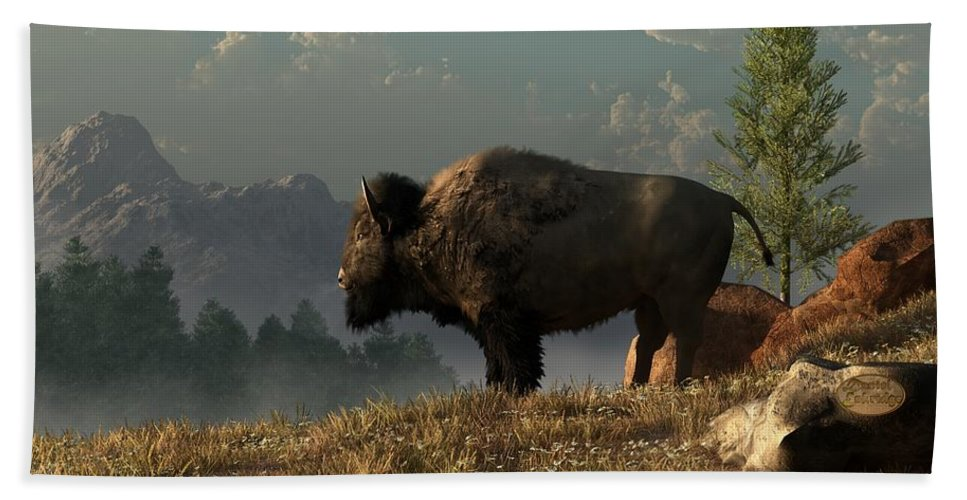Bison Beach Towel featuring the digital art The Great American Bison by Daniel Eskridge