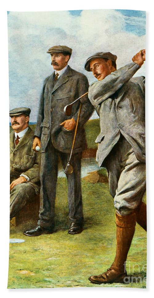 Golf Beach Towel featuring the painting The Great Triumvirate by Clement Flower