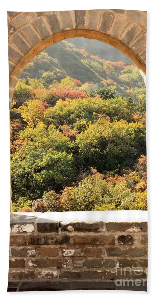 The Great Wall Of China Beach Towel featuring the photograph The Great Wall Window by Carol Groenen