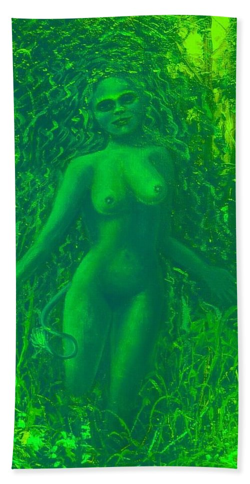 Genio Beach Towel featuring the mixed media The Green Wood Nymph Calls by Genio GgXpress