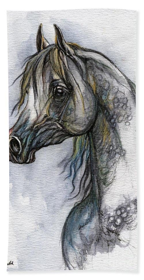 Watercolor Beach Towel featuring the painting The Grey Arabian Horse 10 by Angel Ciesniarska
