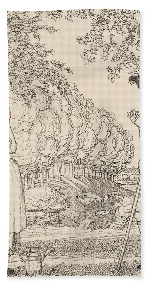 Somov Beach Towel featuring the painting The Happy Agreement by Konstantin Andreevic Somov