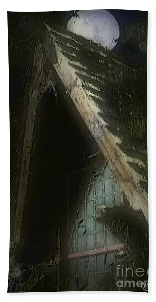 House Beach Towel featuring the painting The Haunted Gable by RC DeWinter