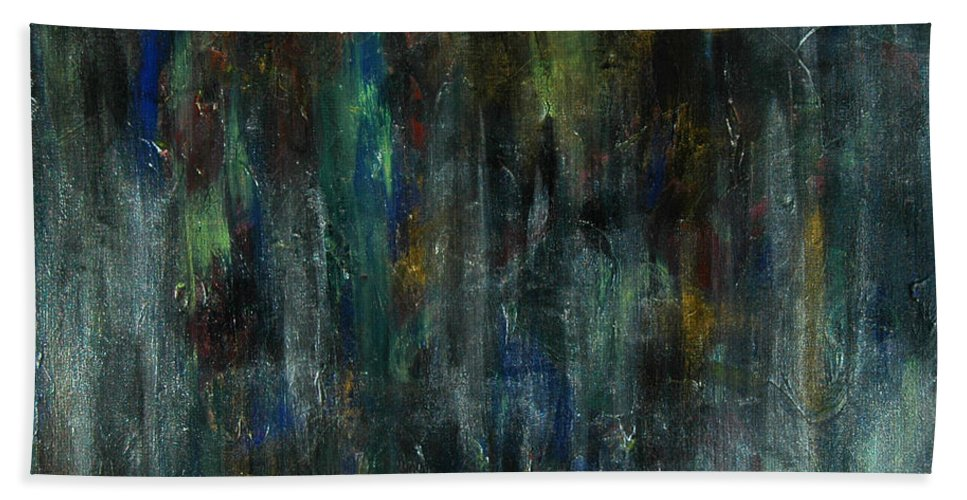 Abstract Beach Towel featuring the painting The Heart's Temple by Sue McElligott
