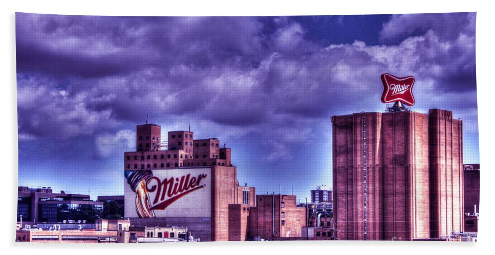 Miller Brewing Beach Towel featuring the photograph The High Life Of Milwaukee by Tommy Anderson