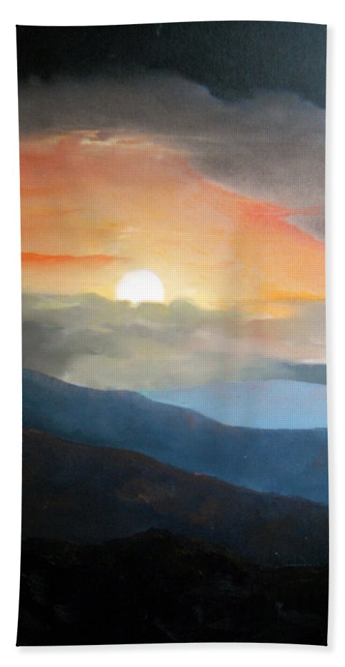 Oil Beach Towel featuring the painting The Highest Point by Sergey Bezhinets
