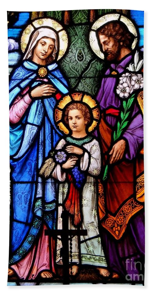 Stained Glass Beach Towel featuring the photograph The Holy Family by Ed Weidman