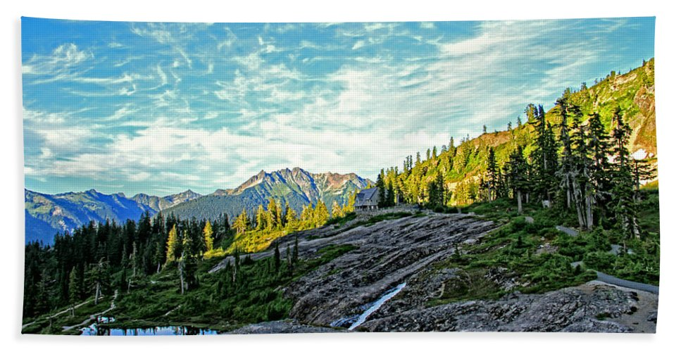 Mountain Beach Towel featuring the photograph The Hut. by Eti Reid