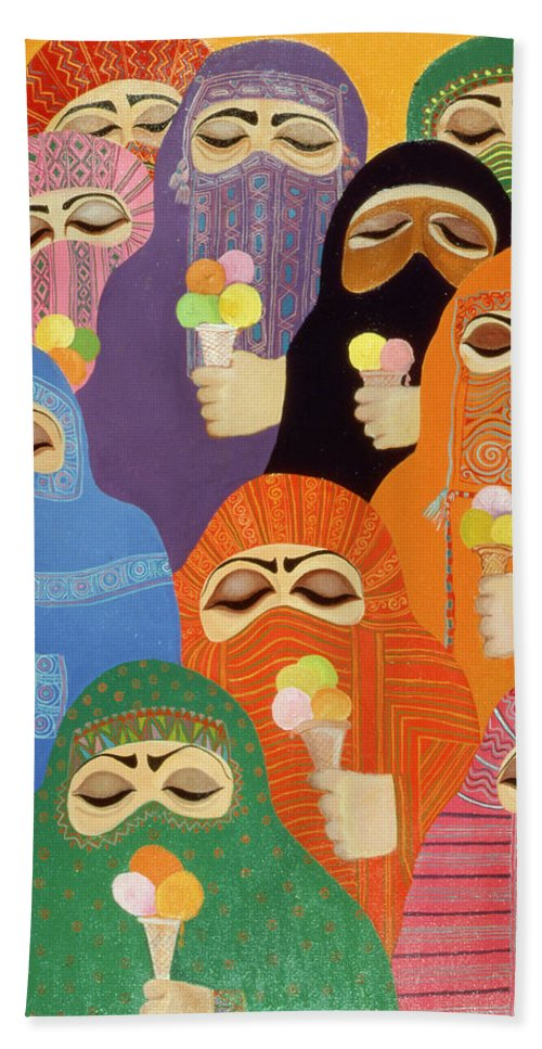 Ice Cream Beach Sheet featuring the photograph The Impossible Dream, 1988 Acrylic On Board by Laila Shawa