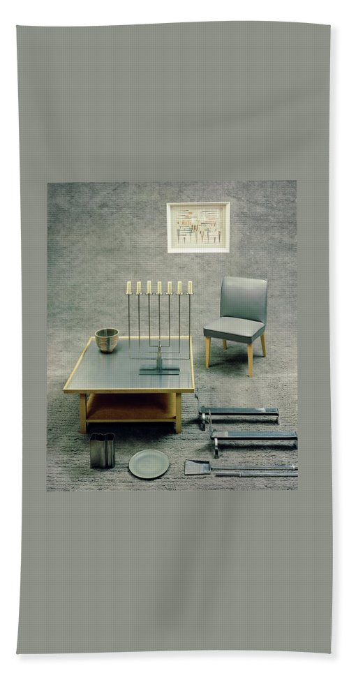 Studio Shot Beach Sheet featuring the photograph The Interior Design Of A Gray Living Room by Haanel Cassidy