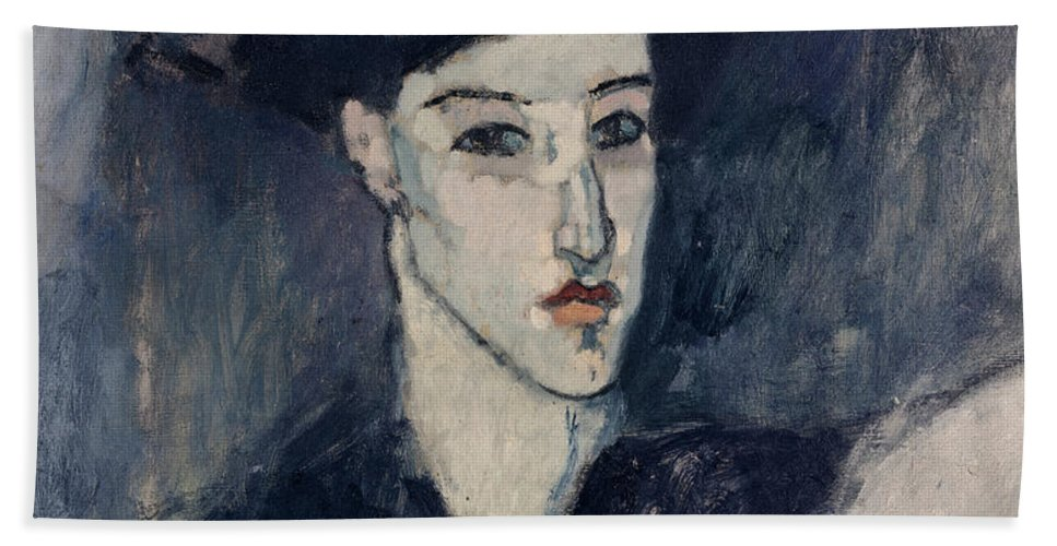 Modigliani Beach Towel featuring the painting The Jewess by Amedeo Modigliani