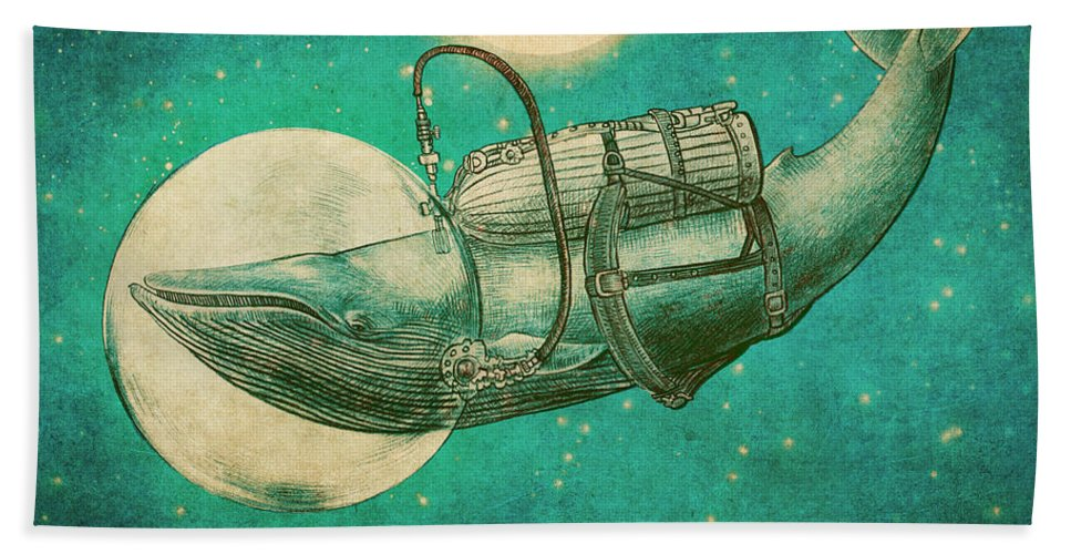 Whale Beach Towel featuring the drawing The Journey by Eric Fan