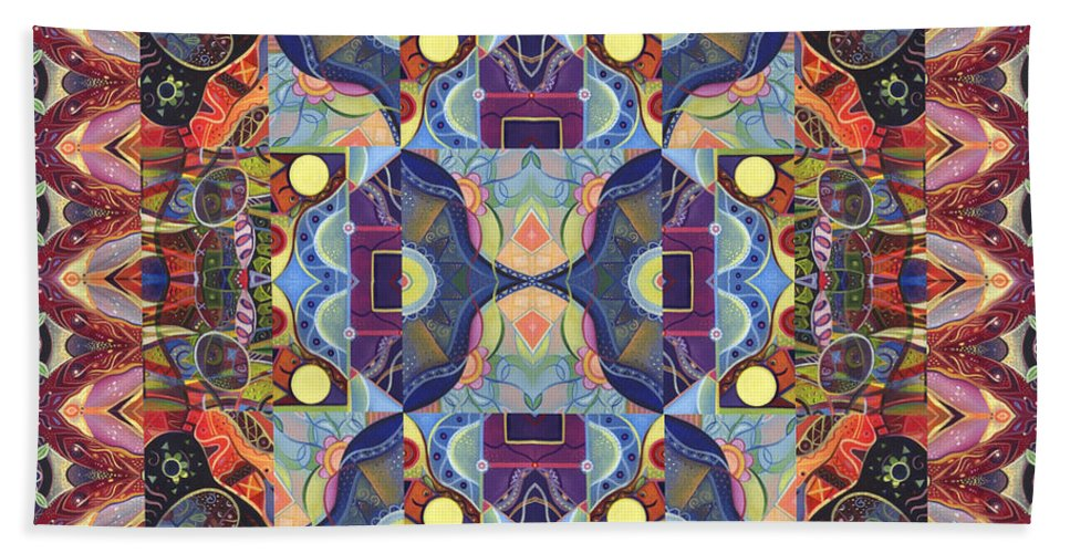 Abstract Beach Towel featuring the digital art The Joy Of Design Mandala Series Puzzle 1 Arrangement 4 by Helena Tiainen