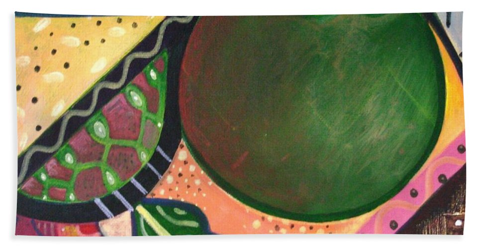 Abstract Beach Towel featuring the painting The Joy Of Design Vl Part 3 by Helena Tiainen