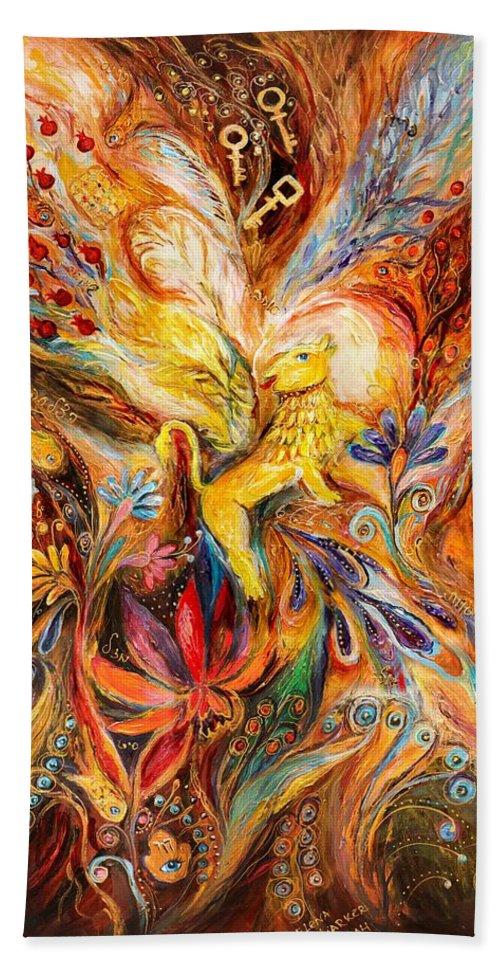 Jewish Art Prints Beach Towel featuring the painting The Keeper Of Three Keys by Elena Kotliarker