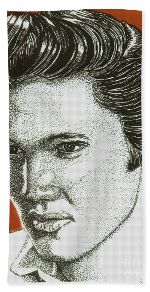 Elvis Beach Towel featuring the drawing The King by Cory Still