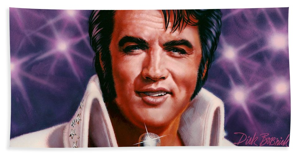 Portrait Beach Towel featuring the painting The King by Dick Bobnick