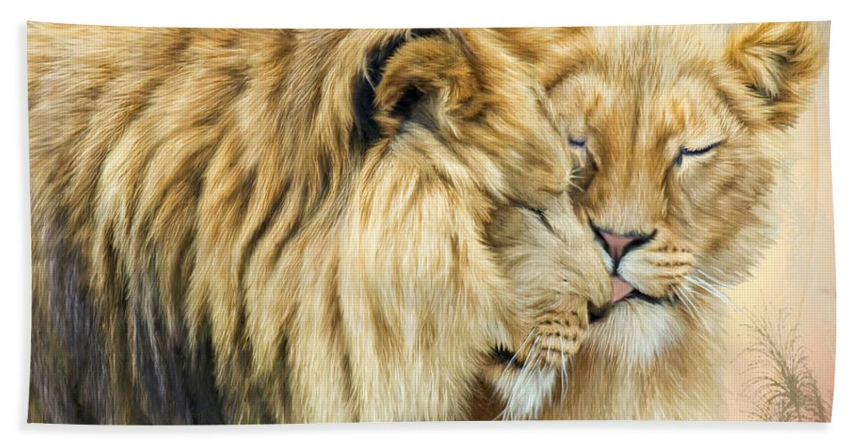 Lion Beach Sheet featuring the mixed media The Kiss by Carol Cavalaris