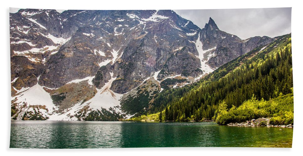 Landscape Beach Towel featuring the photograph The Lake by Pati Photography