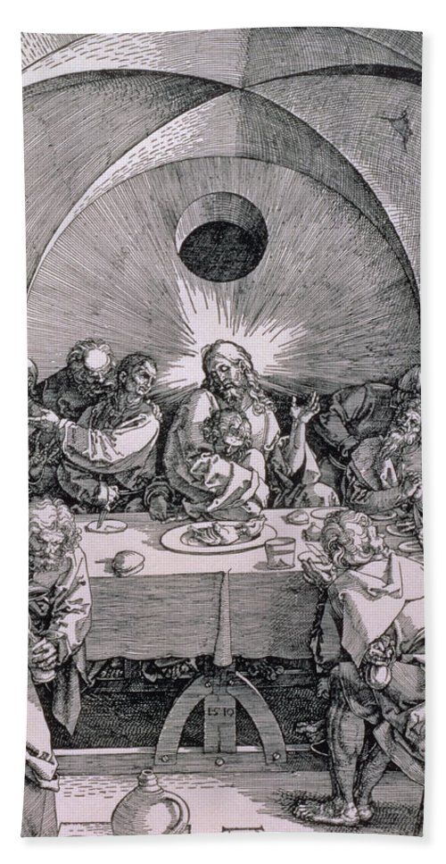 Print Beach Towel featuring the painting The Last Supper From The 'great Passion' Series by Albrecht Duerer