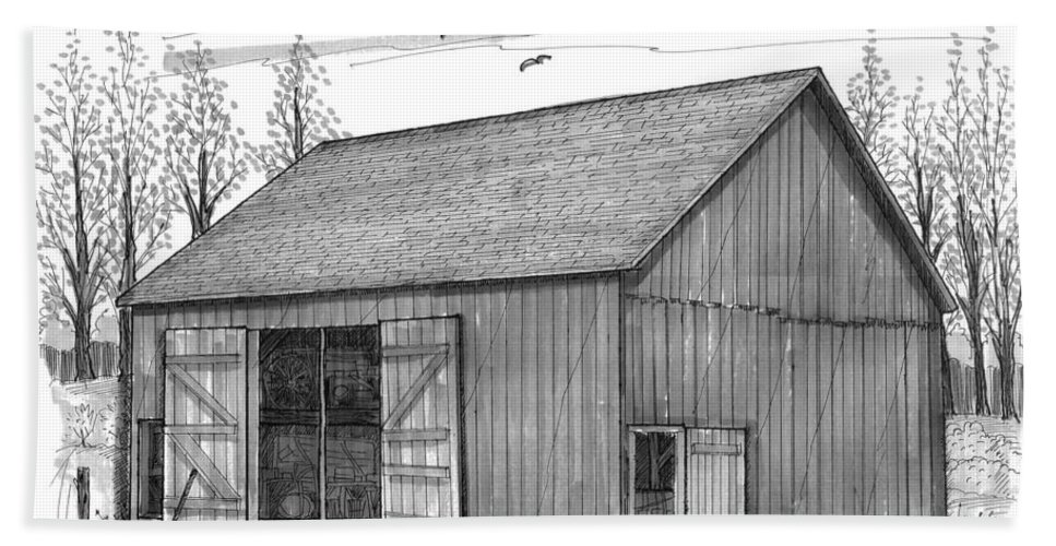 Vermont Beach Towel featuring the drawing The Lawrence Barn by Richard Wambach