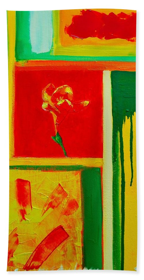 Flower Beach Towel featuring the painting The Little Flower by Ana Maria Edulescu