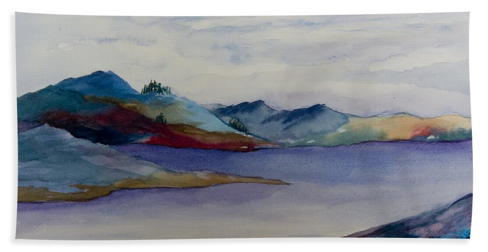 Loch Lake Scotland Hills Water Landscape Nature Colors Moody Beach Towel featuring the painting The Loch by Brenda Salamone