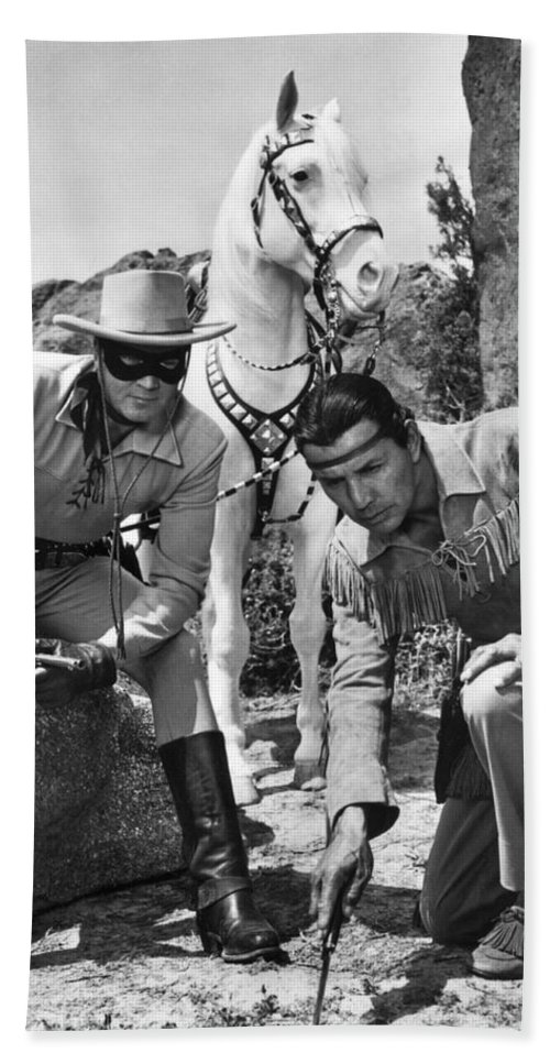 1950's Beach Towel featuring the photograph The Lone Ranger And Tonto by Underwood Archives