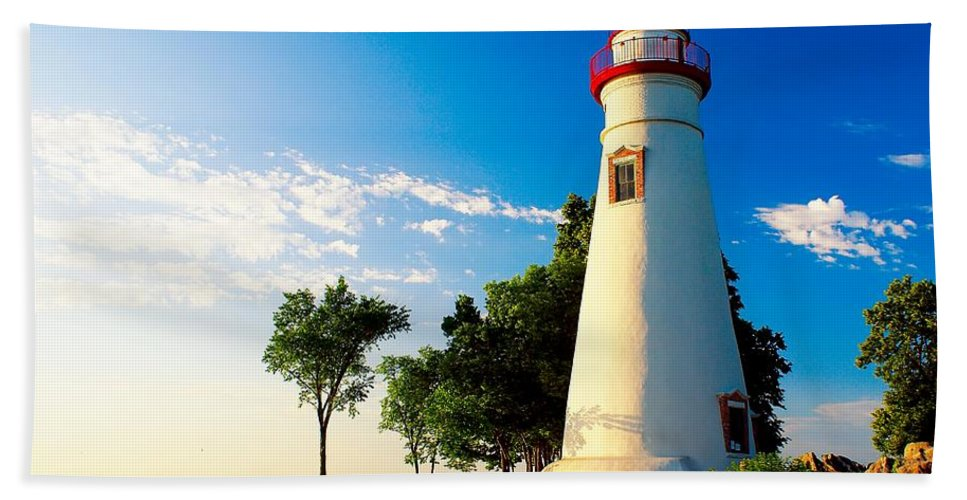 Lighthouse Beach Towel featuring the photograph The Marblehead Light by Nick Zelinsky
