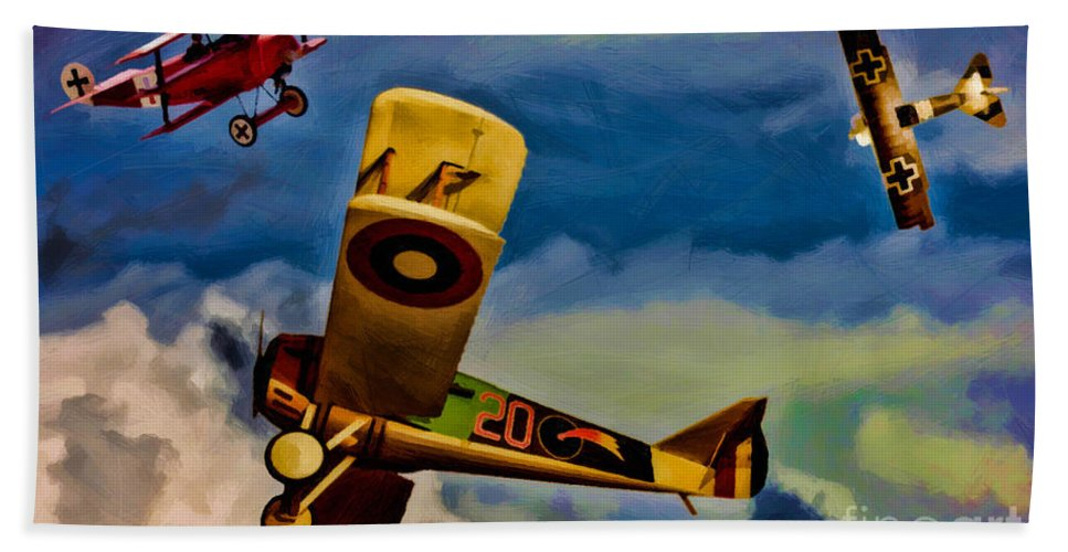 World War 1 Beach Towel featuring the digital art The Mean French Skies by Tommy Anderson