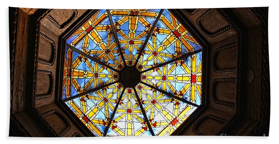 Mission Inn Beach Towel featuring the photograph The Mission Inn Looking Up by Tommy Anderson