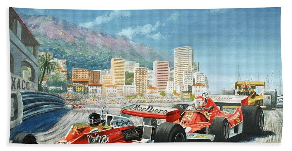 Monaco Beach Towel featuring the painting The Monaco Grand Prix by English School