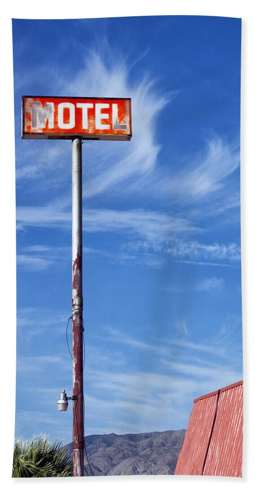 Dhs Beach Towel featuring the photograph The Motel Palm Springs Desert Hot Springs by William Dey
