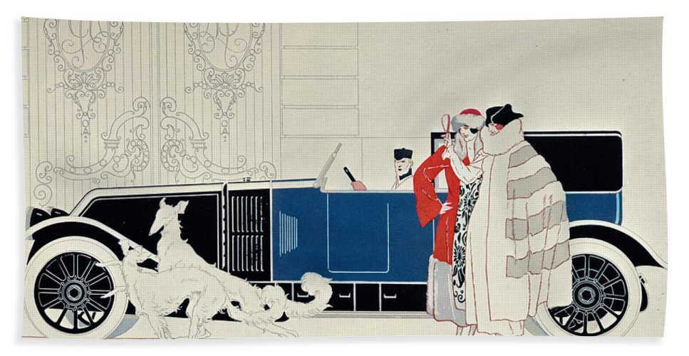 La Nouvelle 6 Cylindres Beach Towel featuring the drawing The New 6 Cylinder Renault, C 1920 by Rene Vincent