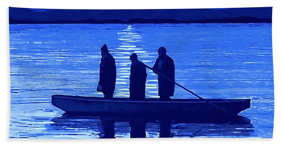 Fishing Beach Towel featuring the painting The Night Fishermen by Sophia Schmierer