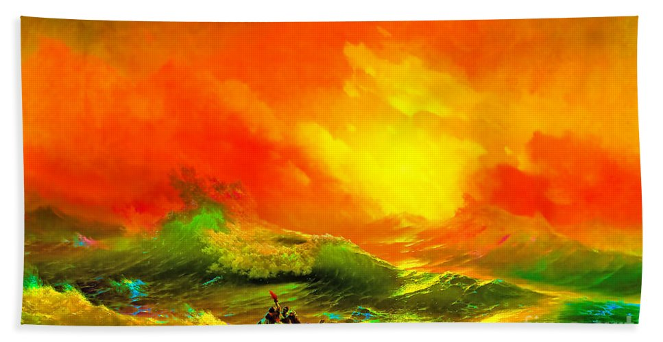 Survivor Beach Towel featuring the painting The Ninth Wave by Viktor Birkus