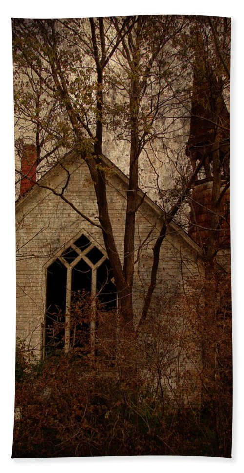 Abandoned Beach Towel featuring the digital art The Old Abandoned Church by Cassie Peters
